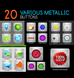 metallic polish web internet buttons set vector image