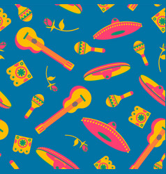 Mexican culture party flat icons seamless pattern vector