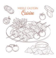 Middle eastern cuisine arabian dishes vector