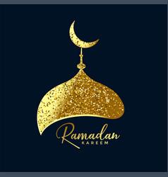 Mosque top made with golden glitter ramadan vector