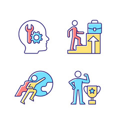 Motivation at work rgb color icons set vector
