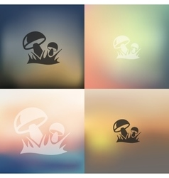 Mushrooms icon on blurred background vector