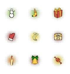 New year icons set pop-art style vector image