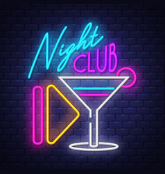 night club- neon sign on brick wall background vector image