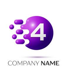 number four splash logo purple dots and bubbles vector image