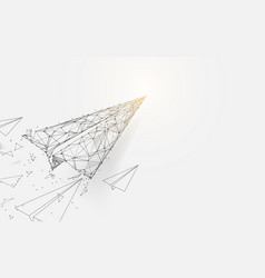 Paper airplanes flying from lines and particle vector
