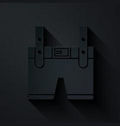 Paper cut lederhosen icon isolated on black vector
