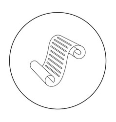paper scroll icon in outline style isolated on vector image