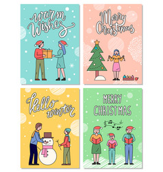 people preparing for christmas greeting postcards vector image