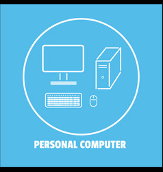 Personal computer icon isolated background vector