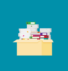 pile of paper documents and file folders vector image