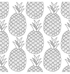 Pineapples tropical fruits black and white vector