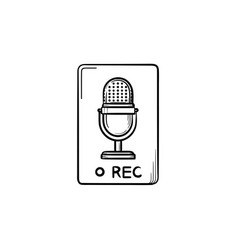 record button hand drawn outline doodle icon vector image