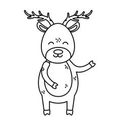 reindeer big horns celebration merry christmas vector image