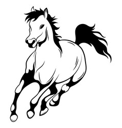 running horse black and white vector image