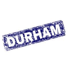Scratched durham framed rounded rectangle stamp vector