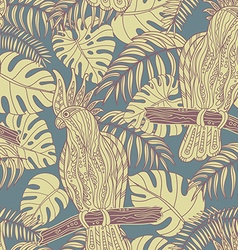 Seamless pattern with graphic cockatoo parrot on a vector