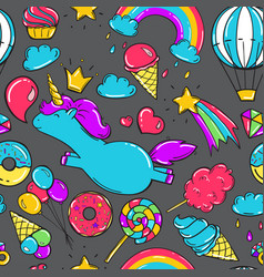 Seamless pattern with unicorns donuts rainbow vector