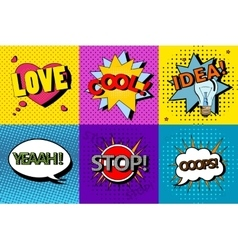 Set of comic speech bubbles in pop art vector