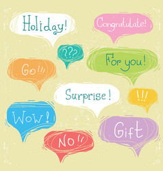 set of speech bubbles with text on scratched paper vector image
