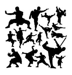 Shaolin monk martial art silhouettes vector