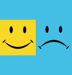 smile sorrow the emotions joy and disappointment vector image