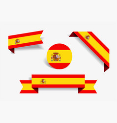 spanish flag stickers and labels vector image