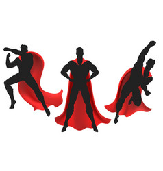 Superhero silhouette set vector