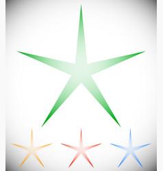 Transparent star elements star shape in 4 color vector