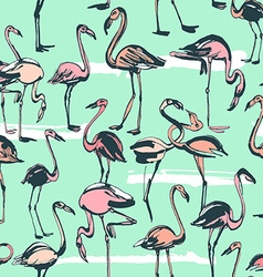 Tropical exotic birds flamingos summer seamless vector