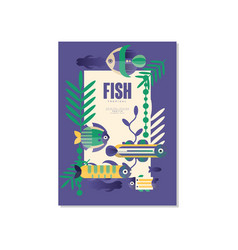 tropical fish banner template trendy seasonal vector image