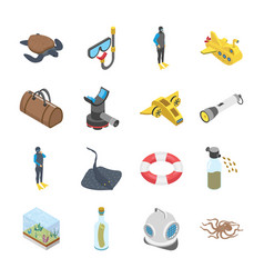 underwater accessories vehicle icons vector image