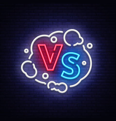 Versus neon sign versus logo symbol in vector
