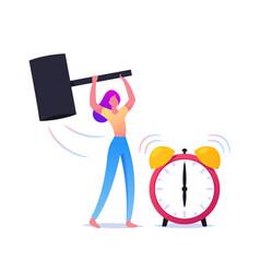 Woman crash alarm clock with hammer isolated on vector