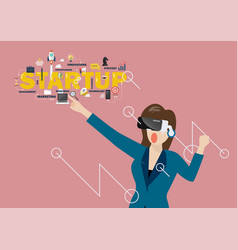 woman using virtual reality headset vector image