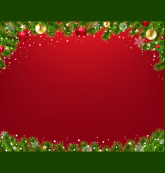 xmas border with fir tree red background vector image