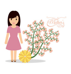 happy mothers day cute mom flower festive vector image
