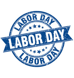 labor day round grunge ribbon stamp vector image vector image