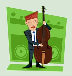 Smooth and elegant jazz contra bass player vector image vector image