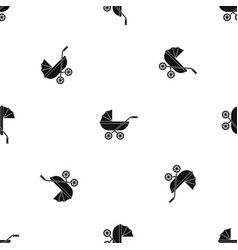 Baby carriage pattern seamless black vector