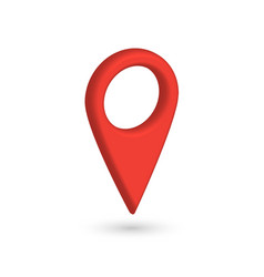 red 3d map pointer with dropped shadow on white vector image