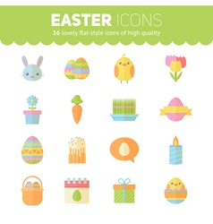 Colorful spring Easter flat icons set vector image