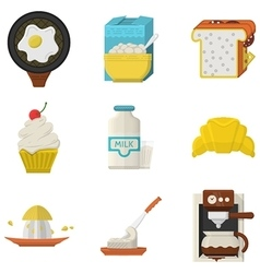 Flat icons for morning menu vector image vector image