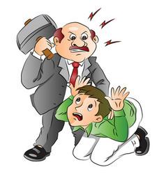 angry businessman hitting employee vector image