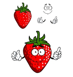 Cartoon fresh red strawberry vector image
