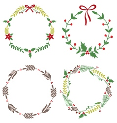 Christmas Circle Borders Wreaths Frames vector image vector image