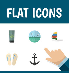 Flat icon summer set of surfing ship hook beach vector