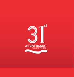 31 anniversary logotype flat design white color vector