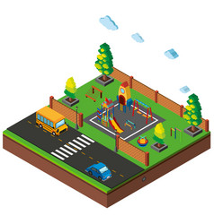 3d design for scene with playground and cars on vector image