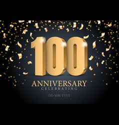 Anniversary 100 red 3d numbers vector